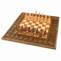 Шахматы + нарды резные с гранатами 60 Haleyan