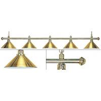Лампа на пять плафонов «Elegance» (золотистая штанга, золотистый плафон D35см)